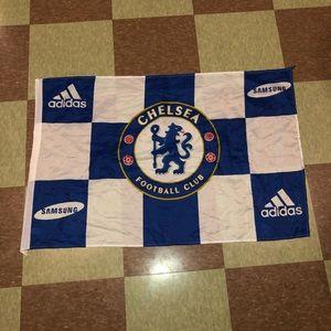 Chelsea football club soccer checkered flag wall